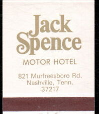 NASHVILLE TN Jack Spence Motor Hotel Vintage Match Book Cover MB Old Advertising