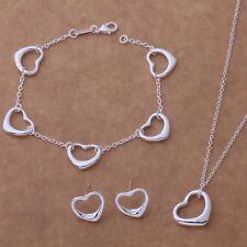 925 Plata Esterlina Corazones Collar, pulsera y pendiente conjunto-vendedor de Reino Unido -