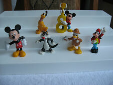Lot of 6 plastic or PVC Micky, Pluto other Disney characters, play, cake toppers