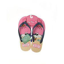 Be As You Are Pink Beach Bum Dog Shades Drink Flip Flops Sandals Thong Shoes NEW