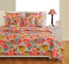 Swayam Grey and Orange Colour Geometrical Print Double Bed Sheet