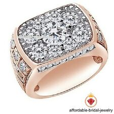 Engagement Pinky Men's Band Ring Round Cut White Diamond Rose Gold Finish