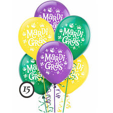 Mardi Gras Printed Latex Balloons Birthday Party Decoration New Orleans ~ 15ct.