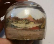 Vintage Sand Art Paperweight Painted Desert Dome Native American Indian