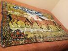 """Vintage 1950s Wildlife Deer Buck Fawn Tapestry Wall Hanging/Area Rug 68""""X48"""" App"""