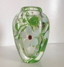 Very Fine Orient & Flume Art Glass Vase Paperweight ~Flowers & Vines~ ~Signed~