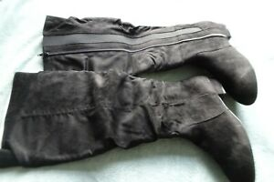 Evans Lulu black suede full length extra wide ruched boots size 7