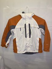 The North Face Mens HyVent Hooded Jacket Large White, Off Grey & Orange
