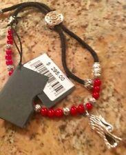 John Hardy Men's Naga Silver Round Red Coral Beads on Black Cord Medium Bracelet