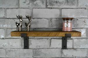Rustic Industrial Retro Shelf Scaffold style Metal Bracket Solid Wood 10cm Depth