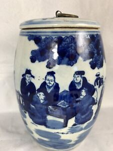 "SIGNED 19th C Qing Dynasty Chinese Scholar 8"" Barrel Jar Pot Blue Lid Cover"