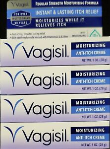 Vagisil Instant Itch Relief Regular Strength Cream 1oz Tube -4 Pack -Exp 07-2023