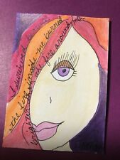 "ACEO Original Painting ""Tammy"" Ooak 2.5""x3.5"" Women Inspire Women Watercolor"