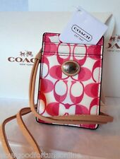 NWT RARE COACH ID BADGE LANYARD CARD HOLDER/CASE 66799 Pomegranate Pink White