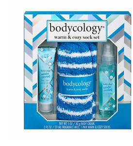 Bodycology Winter Coconut 3-Piece Warm & Cozy Sock Set (body cream&spray&socks)