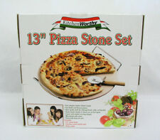 "KITCHEN WORTHY - 13"" PIZZA STONE SET - PIZZA STONE, CHROME METAL RACK & CUTTER"