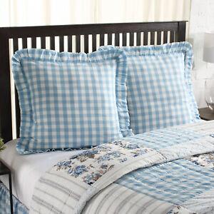 VHC Brands Farmhouse Euro Sham Blue Annie Buffalo Check Cotton Bedroom Decor
