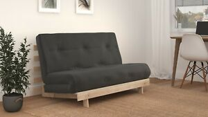 DOUBLE 4FT6 LUXURY FUTON SOFA BED - Wooden Frame with Mattress 12 COLOURS