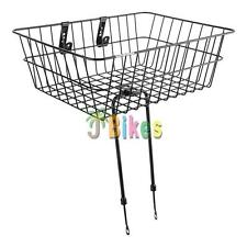 Bicycle Basket Sunlite Large Front Wire Fixed 18x13x6 Black with Legs