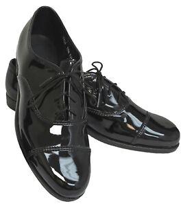 New Men's Tuxedo Shoe Solid Black or Black & White Cap Toe Lace Up Prom Wedding