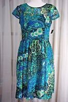 Madison Leigh Dress 8 Cap Sleeve Mesh Lace Teal Black Green Lined Keyhole New