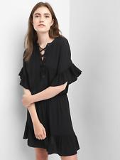 Gap Ruffle lace-up dress, True Black Sz L (1131B5)