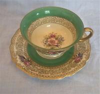 Rosenthal Ivory Bavaria Floral Gold Teacup and Saucer Vintage China Tea Cup Rose