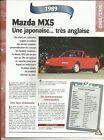 FICHE AUTOMOBILE LA MAZDA MX5 1989