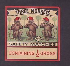 Ancienne   étiquette  allumettes Inde BN18772 Trois Singes 1