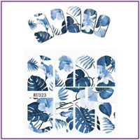 Nail Art Water Decals Stickers Transfers Summer Blue Tropical Palm Trees (RU323)