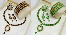 Indian Pakistan Bollywood American Diamond Combo Necklace Set Gold Plated Party