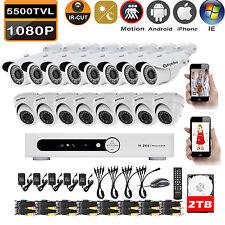 Eyedea 16 CH 1080P Video DVR Night Vision 2.0MP CCTV Security Camera System 2TB