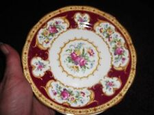 VINTAGE GILDED SIDE PLATE PRETTY FLORAL WITH RED RIM ROYAL ALBERT LADY HAMILTON