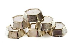 1930's Set of 6 Chinese Solid Silver Hexagon Shaped Wine Tea Cup Mk 196 Gram