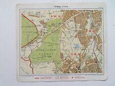 "London Wimbledon RICHMOND PK-vintage data MAP c1920 7"" x 8"" dalla Philips"