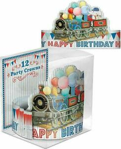 Punch Studio Set of 12 Plaid Elephant Balloons Train Birthday Party Crowns