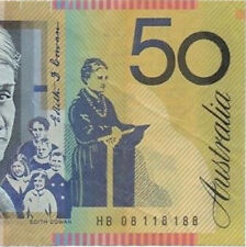 2008 $50 HB 08118188 Near Solid / Binary Number Australia Polymer Banknote