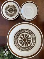 11PC Vintage Set Cavalier Ironstone Royal CHINA Brown Flower Dinner Salad Plates
