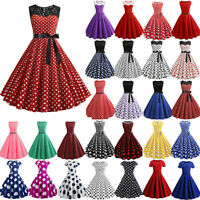 Women 50s Vintage Polka Dot Retro Rockabilly Evening Party Housewife Swing Dress