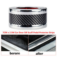 7cmX2.5m Carbon Fiber Car Door Sill Scuff Pedal Protector Strip Fender Cover PVC