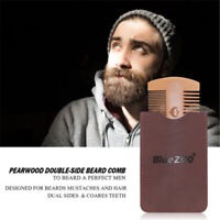 Wooden Beard Comb Anti Static Comb with Fine Coarse Teeth Hairdressing Brush