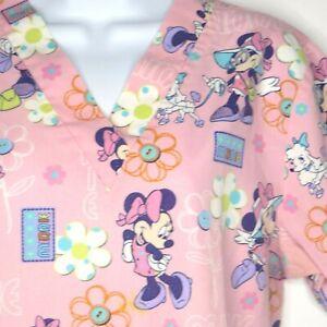 Disney Womens Large Scrub Top Pink Minnie Mouse Flowers Medical Dental Vet