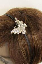 New Women Classic Fashion Headband Butterfly Charm Silver Rhinestones Hair Band