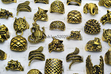 50pcs Mixed Lots Gothic Skull and Animal Men's Anti Golden Rings Punk Retro Free