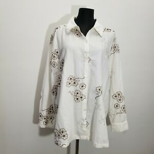Susan Graver Womens Blouse Top 1X 100% Linen Floral Embroidered Sequin Button Up