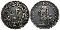 Switzerland - 2 Francs - 1908 B - Bern - Great Eye Appeal - KEY DATE 200K Minted