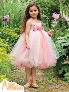 Kids Girls Pink Summer Fairy Costume Deluxe FairyTale World Book Day Fancy Dress