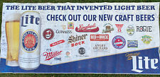 Miller Lite Beer Vinyl Sign 6.5 Foot X 3 Foot Some Wear Preowned Craft
