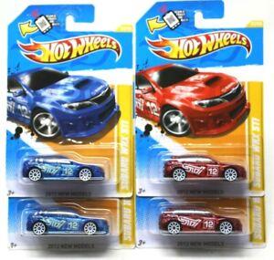 Hot Wheels 2012 New Models Subaru WRX STI Lot x 4 Blue Red 33/50 NIP #D-42