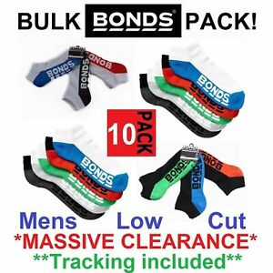 10 Pack Mens Bonds Low Cut Sports Ankle Gym Running Cushioned Active Socks